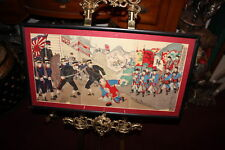 Antique Japanese Wood Block Print-Sino Japan War-#3-Color Triptych-Military