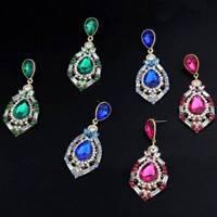Women Elegant Rhinestone Big Drop Earrings Wedding Party Jewelry