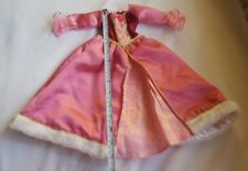 R&M Doll Disney Clothes Pink Gown Evening Princess Dress Faux Fur Trim w defects