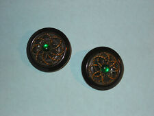 Antique Brown Bakelite Buttons ( Pair ) Brass Decoration ~ Green Stone Centers