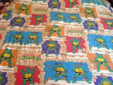 Vtg Teenage Mutant Ninja Turtles Twin Sheets Flat Fitted Pillowcase TMNT Fabric