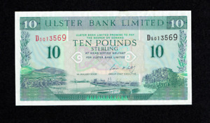 RARE ULSTER BANK 10 POUNDS TEN BANKNOTE BELFAST NORTHERN IRELAND IRISH UNC? UK