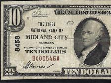 AL 1929 $10 ♚♚ MIDLAND CITY, ALABAMA ♚♚  PMG VF 20  VERY RARE!!!
