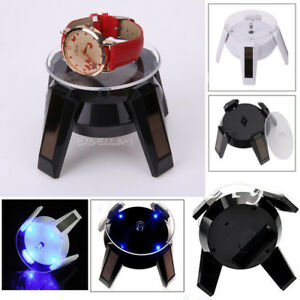 360° Solar Power Jewelry Phone Watch Rotating Display Stand Turn Table LED Light