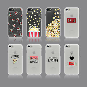 NETFLIX CHILL POPCORN CINEMA FILM PIZZA SOFT CLEAR PHONE CASE FOR IPHONE SAMSUNG