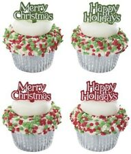 Merry Christmas & Happy Holidays Cupcake & Cake Picks - 24 Count - 15919