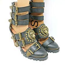 Jeffrey Campbell Free People Black Leather Mokai Brass Lion Sandals Heels Sz 7.5