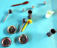 Ancien lot de miniature dinette accessoires de poupée vintage broc assiette