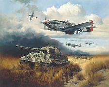 "Heinz Krebs P-51 Co-signed Print ""Normandy Tiger Hunt"""