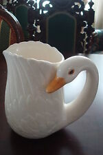 Ceramic Pitcher with duck handle, made in Taiwan, unmarked