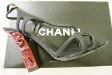 CHANEL Sandal Red Lacquer Heel Carved Chinese Landscape