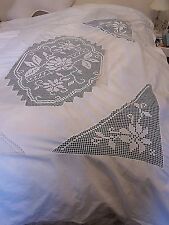 Vintage  White Linen Duvet Cover~Insertion Lace Filet Crochet Lace~64 X77