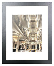 11 x 14 Picture Photo Frame Black, Gray or White Glass 8x10 with Mat Wall Mount
