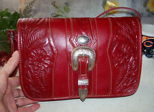 American West Hand Made Leather Red Buckled Saddle Bag Cross Body Messenger