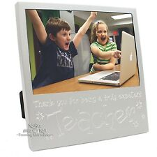 New Thank You Teacher Photo Picture Silver tone Frame Unique Class Pupil Gift