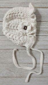 hat Flower bonnet Newborn crochet baby girl marshmallow cream white handmade new