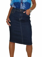 Stretch Denim Jeans Pencil Skirt Indigo Dark Blue Stitch Pocket NEW 12-24