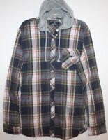 Buffalo David Bitton Mens Blue Plaid Button-Front Shirt Hoodie NWT $89 Size S
