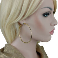 """Ky & Co Large Yellow Gold Tone Hoop Earrings 2 5/8"""" USA Made"""