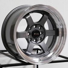 15x8 Vors TR7 4x100/4x114.3 0 Gun Metal Wheels Rims Set(4)