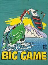 Vintage Bass Fishing Large T-Shirt Cartoon Comedy Boat Big Game Lake Mountain