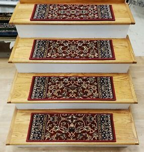 "Red/Navy Stair Tread Set of 13 Non Slip Carpet Runner Treads 26"" x 9"" Rug Depot"
