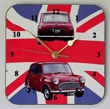 Square Wall Clock – Classic Austin Seven Mini on Union Flag - Size 19cm by 19cm