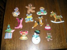 11 handmade felt sequined Christmas ornaments rocking horse gingerbread man