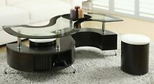 Contemporary Glass Top Coffee Table with Stool & Storage (Espresso)
