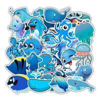 49Pcs Ocean Animal Waterproof Stickers Fridge Phone Skateboard Suitcase Sticker