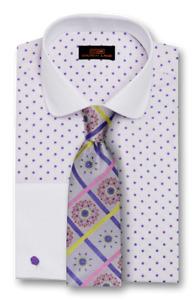 Mens Dress Shirt Steve Land Red Stripe Polka Dot spread DS1224 French Cuffs sale