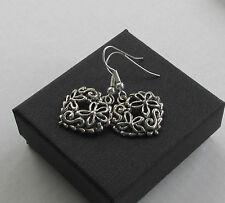 Handmade Pretty Tibetan Silvertone Fancy Flower Heart Pendant Earrings - Boxed