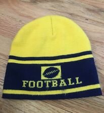 Boys Youth Navy Blue and Yellow Striped Football Winter Hat Beanie