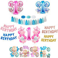 1st Happy Birthday Party Decoration Banner Bunting Baby Boy Girl Filled Balloons