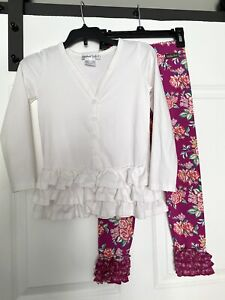 Matilda Jane Pink Floral Leggings With Ruffle Cardigan Size 6