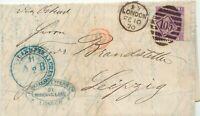 "GB 1870 QV 6 d rötlichlila Pl.8 (ID) m Breitrand EF a. Kab.-Brief ""LONDON / 105"""