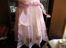 Vintage 50s Sheer Apron Pink/LILAC Painted Floral Half Apron 1950s