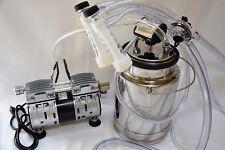 Portable Goat Bucket Milker 5 Hp Oil Less Piston Vacuum Pump Ss Bucket Pulsator