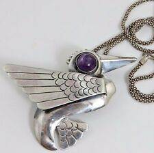 Old Vintage Art Deco Mexican Sterling Bird Amethyst Pendant Necklace.