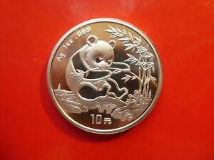"""China, 10 Yuan, """"Panda"""", 1994, 1 OZ Silber, original, Luxusqualität"""