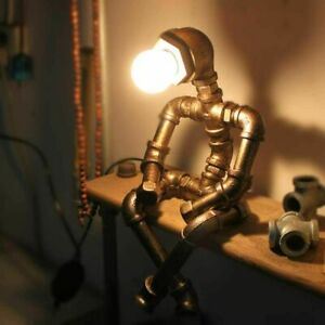 Retro Industrial Water Pipe Steampunk Robot Table Lamp Home Office Lights Decor