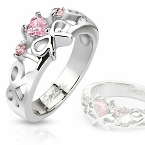 Evelyn: Pink Sapphire Ice CZ 316 Stainless Steel Ribbon Ring