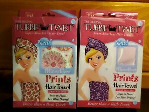 2 Pack ! The Original MICROFIBER Turbie Twist Super-Absorbent PRINTS Hair Towel
