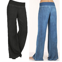 Summer Womens Ladies Elastic Waist Wide Leg Harem Pants Denim Palazzo Trousers