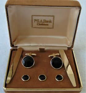 Cuff links Stud Set by JoS. A. Bank. Gold Tone and Black GENUINE ONYX