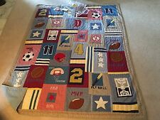 Pottery Barn Kids DISCONTINUED Sports Athletic Twin Quilt 1995