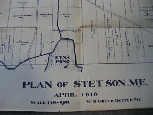 Copy PLAN OF Town of STETSON, MAINE April 1916 ETNA POND