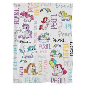 Personalised Unicorn Baby Fleece Blanket *Pearl* Brand New in Packaging