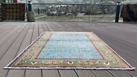 Exquisite Vintage 1980's Teal Blue Wool Pile Legendary Hereke Area Rug 4x6ft