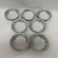 Favolina Tempo Poland Fruit Sauce Bowls White Gray Blue Platinum Trim Lot of 7